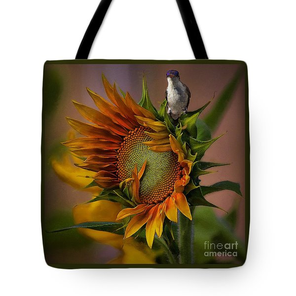 Hummingbird Sitting On Top Of The Sun Tote Bag