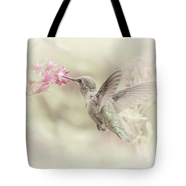 Tote Bag featuring the photograph Hummingbird Softly by Angie Vogel