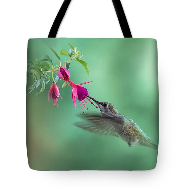 Hummingbird Tranquility Tote Bag by Angie Vogel