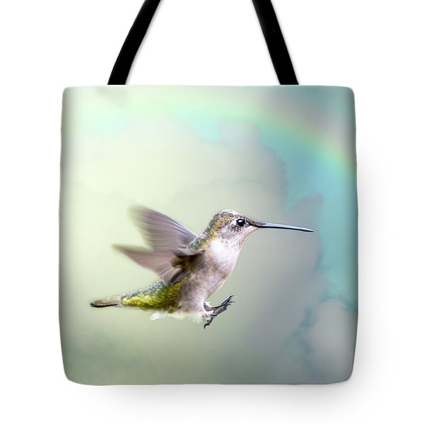 Tote Bag featuring the photograph Hummingbird Under Rainbow by Bonnie Barry