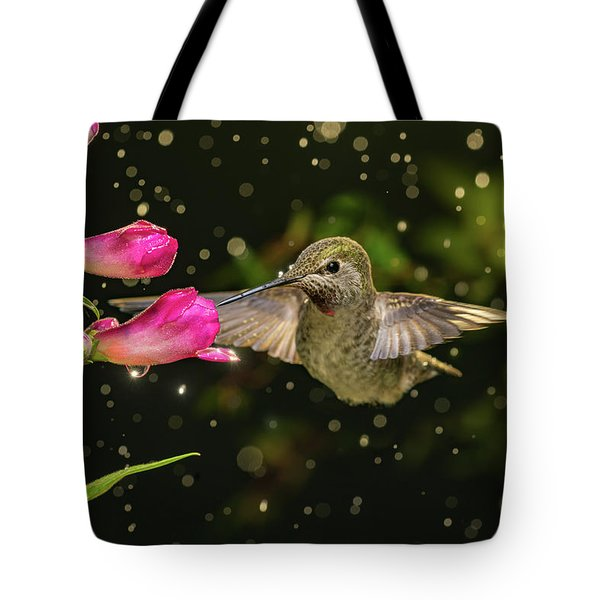 Tote Bag featuring the photograph Hummingbird Visits Flowers In Raining Day by William Lee