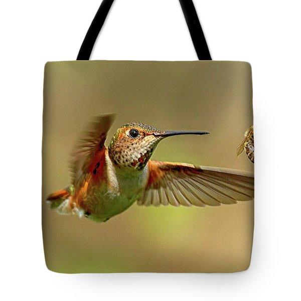 Hummingbird Vs. Bees Tote Bag