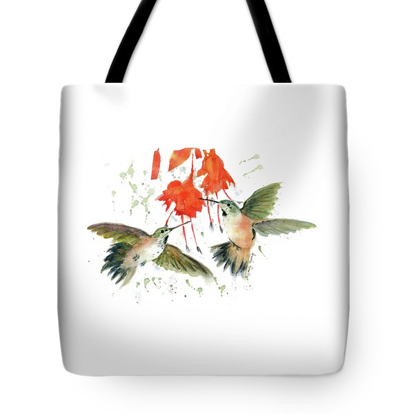 Hummingbird Watercolor Tote Bag