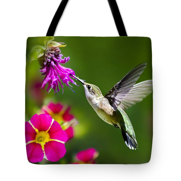 Hummingbird With Flower Tote Bag