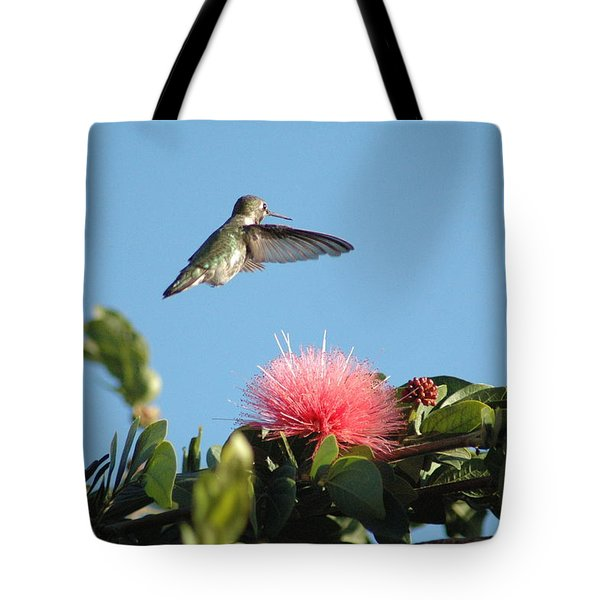 Hummingbird With Pink Flower Tote Bag