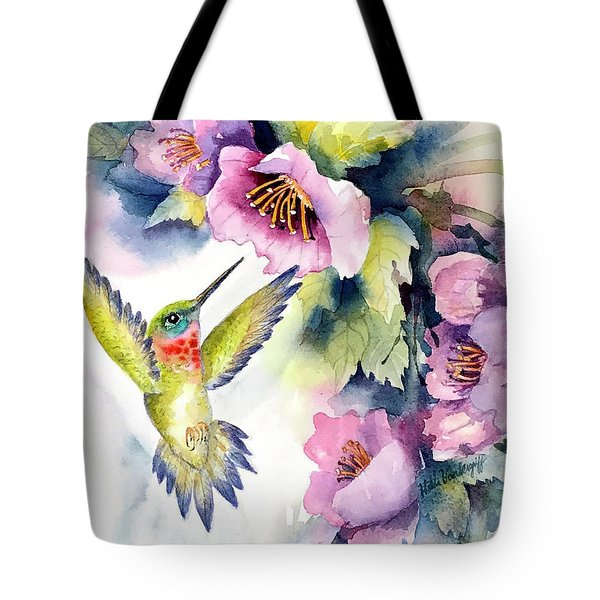 Hummingbird With Pink Flowers Tote Bag