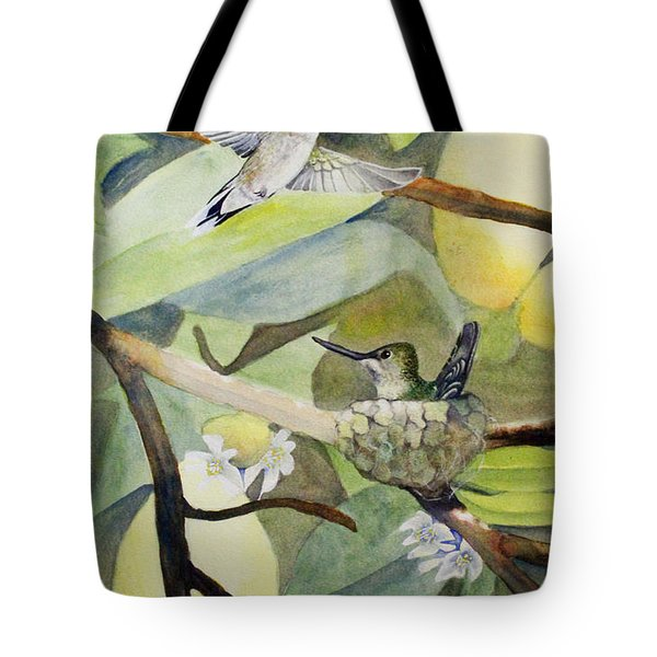 Hummingbirds And Lemons Tote Bag