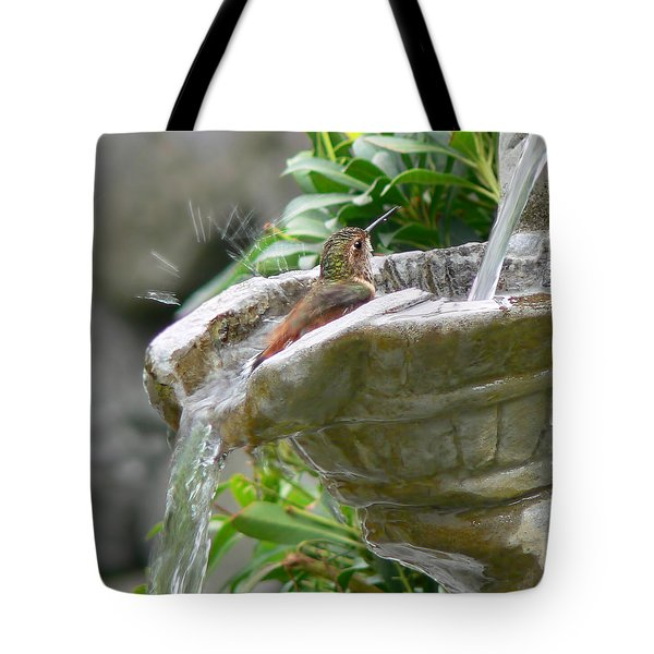 Hummingbirds Do Take Baths Tote Bag by Jennie Marie Schell