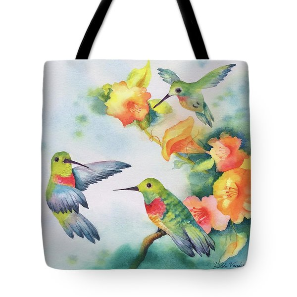 Hummingbirds With Orange Flowers Tote Bag