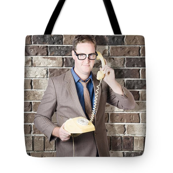 Humorous Male Nerd Chatting Business On Phone Tote Bag