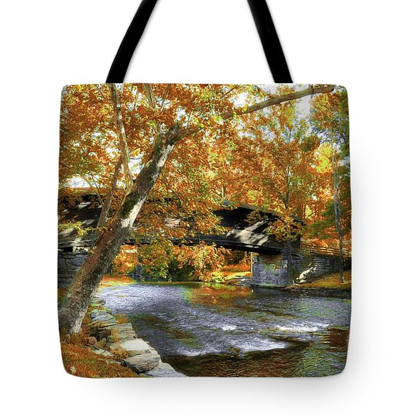 Tote Bag featuring the photograph Humpback Covered Bridge In Autumn by Mel Steinhauer