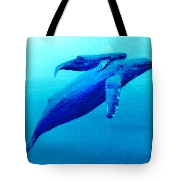 Humpback Mother Whale And Calf  #11 Tote Bag by Donald k Hall