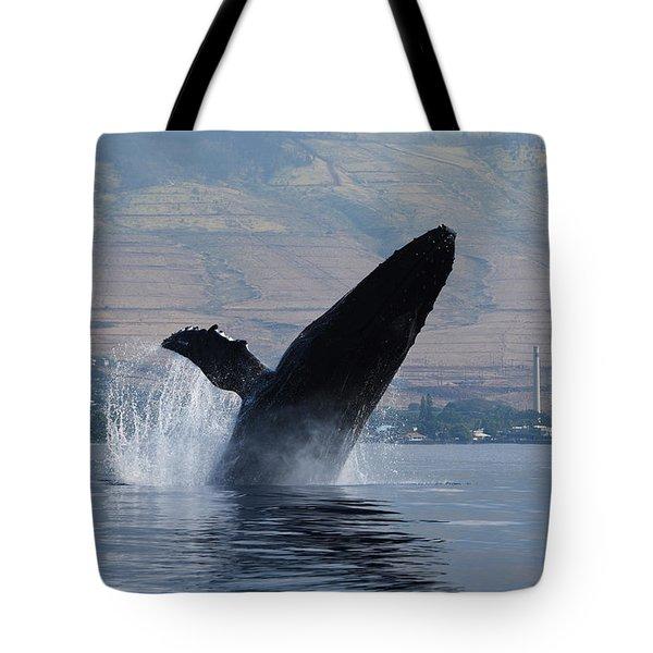 Humpback Whale Breach Tote Bag