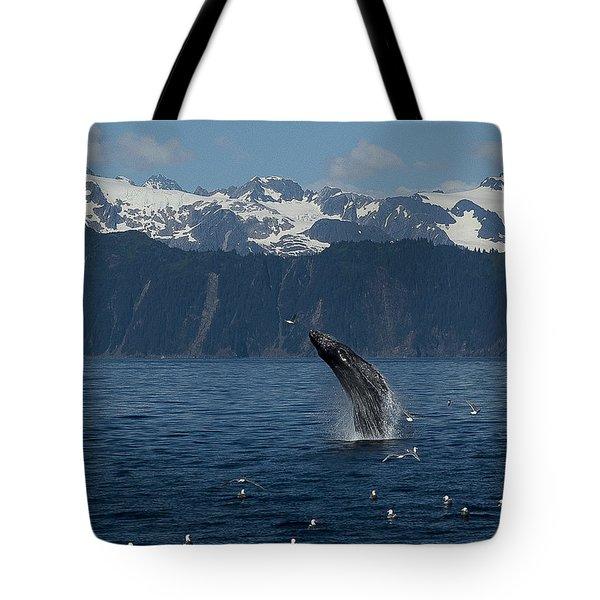 Humpback Whale Breach Seward Tote Bag
