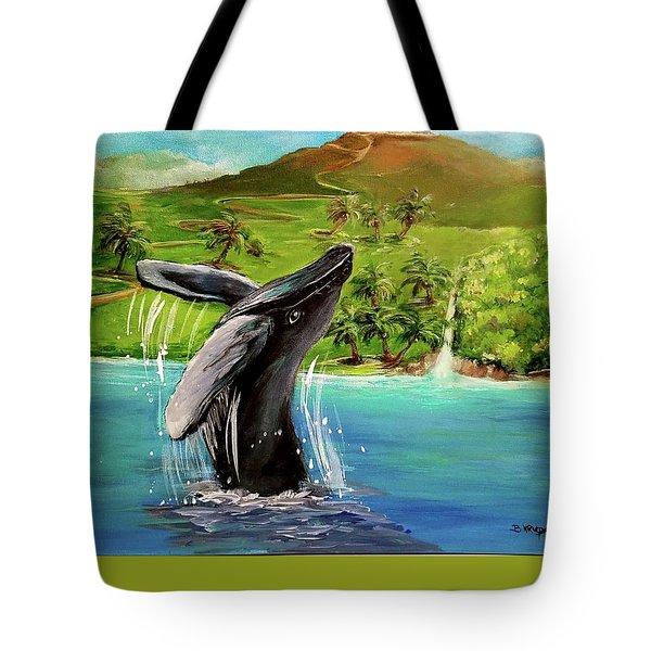 Humpback Whale Breaching At Haleakala Hawaii Tote Bag by Bernadette Krupa