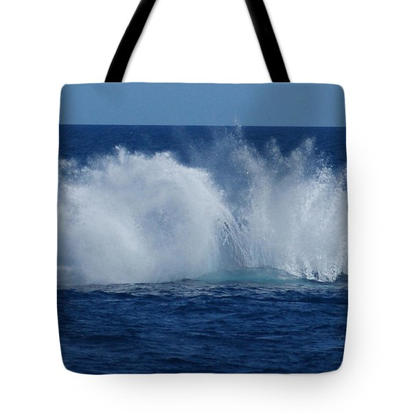 Humpback Whale Breaching Close To Boat 23 Image 3 Of 4 Tote Bag