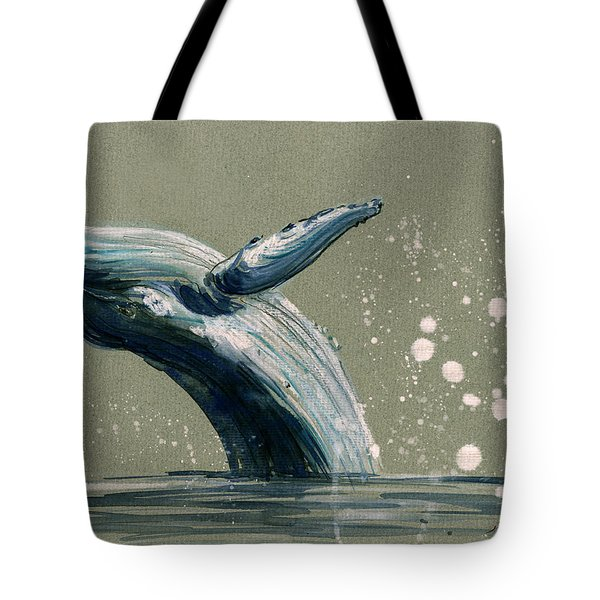 Humpback Whale Swimming Tote Bag by Juan  Bosco
