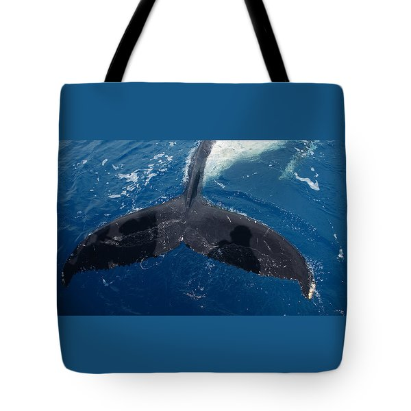 Humpback Whale Tail With Human Shadows Tote Bag