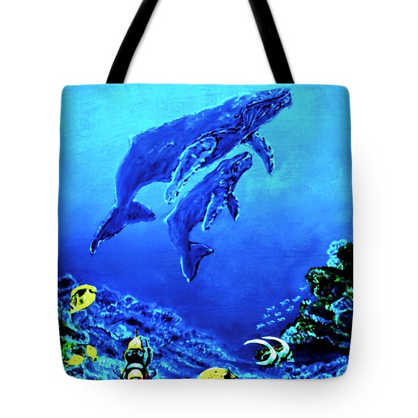 Humpback Whales Hawaii An Reef #14 Tote Bag by Donald k Hall