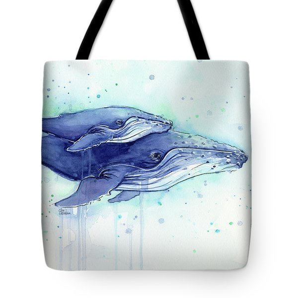 Humpback Whales Mom And Baby Watercolor Painting - Facing Right Tote Bag by Olga Shvartsur