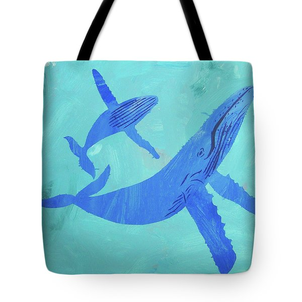 Tote Bag featuring the painting Humpback Whales by Candace Shrope