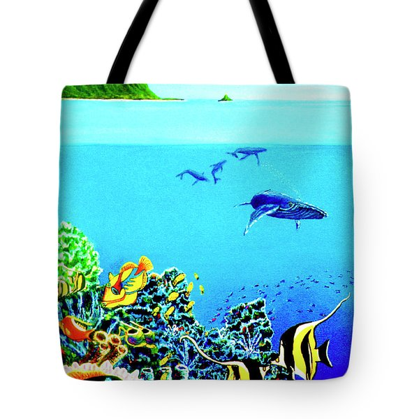 Humpback Whales, Reef Fish #252 Tote Bag by Donald k Hall