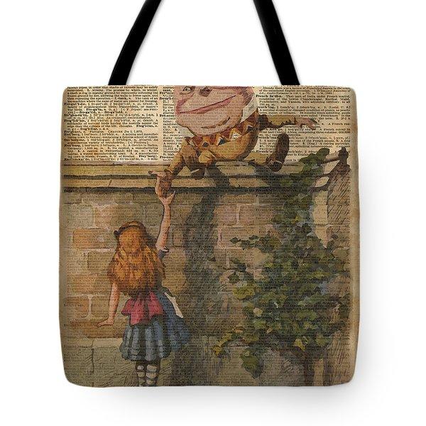Humpty Dumpty Alice In Wonderland Vintage Dictionary Art Tote Bag