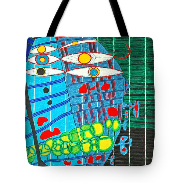 Hundertwasser Blue Moon Atlantis Escape To Outer Space In 3d By J.j.b Tote Bag