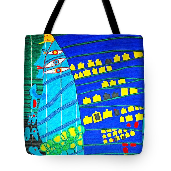 Hundertwasser Blue Moon Atlantis Escape To Outer Space Tote Bag