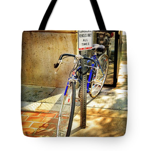 Tote Bag featuring the photograph Hungarian Conculate Bicycle by Craig J Satterlee