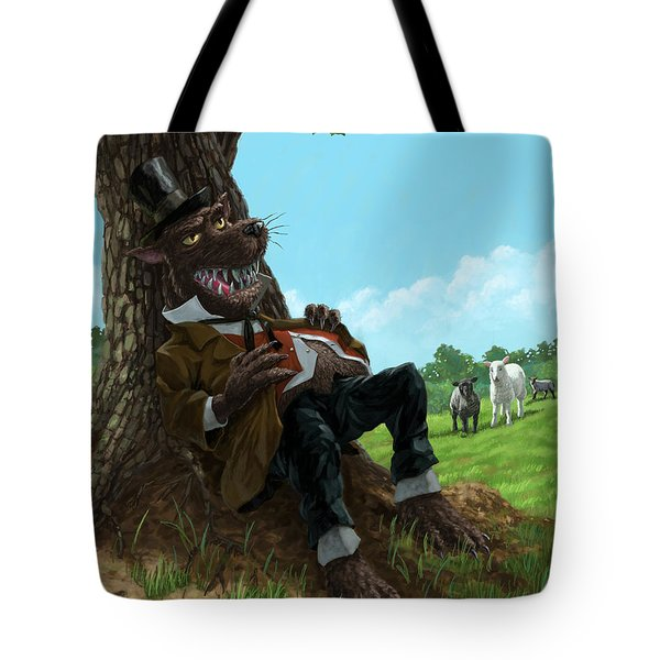 Hungry Bad Wolf In Field With Little Sheep Tote Bag