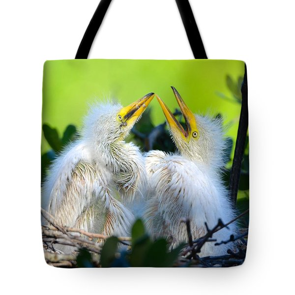 Hungry Egret Chicks Tote Bag