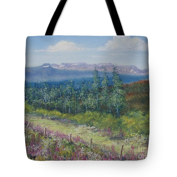 Tote Bag featuring the painting Summer Flowers On Hungry Hill by Stanza Widen