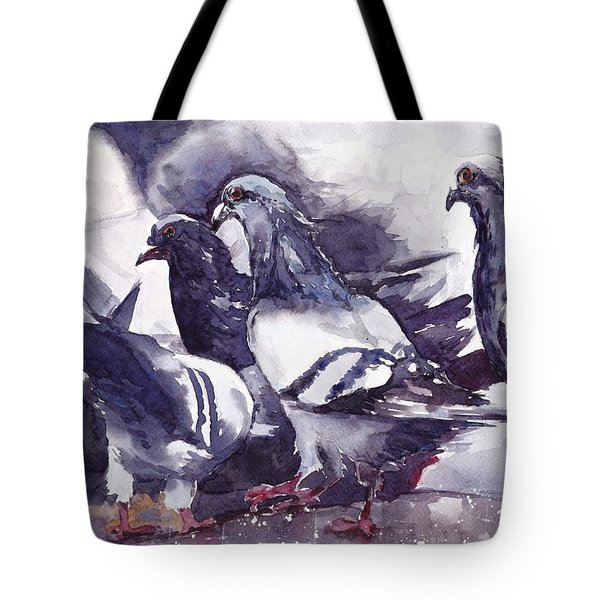 Hungry Pigeons Watercolor Tote Bag