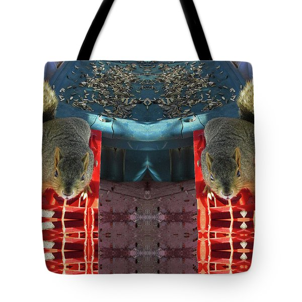 Hungry Squirrels Demanding Sunflower Seeds Tote Bag