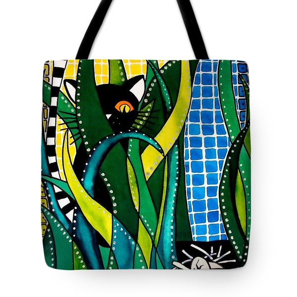 Hunter In Camouflage - Cat Art By Dora Hathazi Mendes Tote Bag by Dora Hathazi Mendes