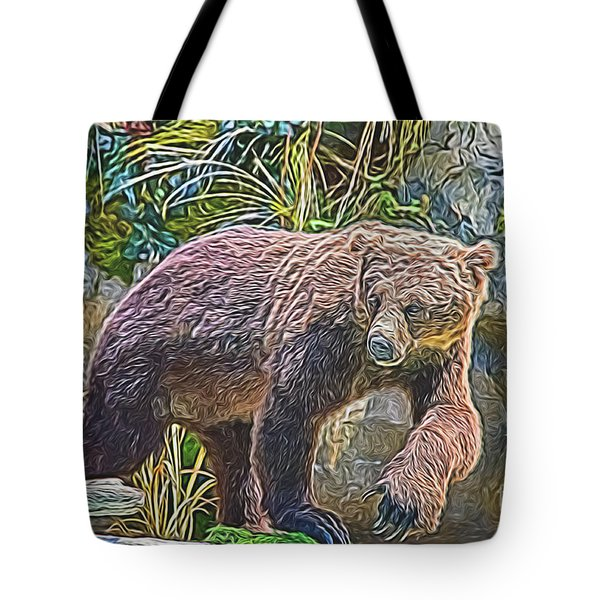 Tote Bag featuring the digital art Hunting Bear by Ray Shiu