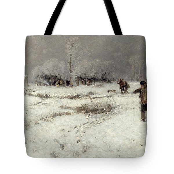 Hunting In The Snow Tote Bag by Hugo Muhlig