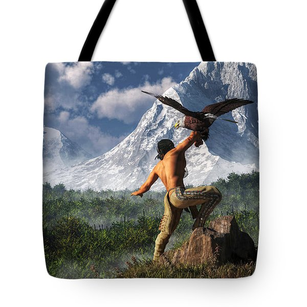 Hunting With An Eagle Tote Bag