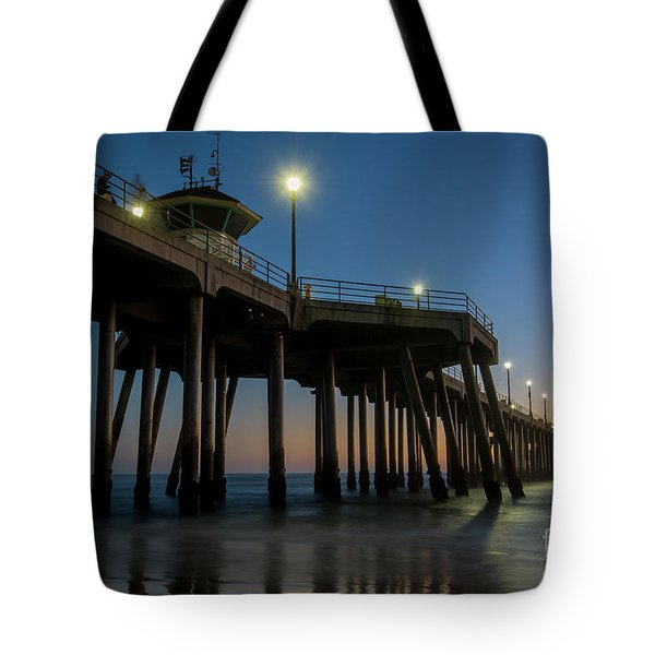 Huntington Beach Pier At Dusk Tote Bag