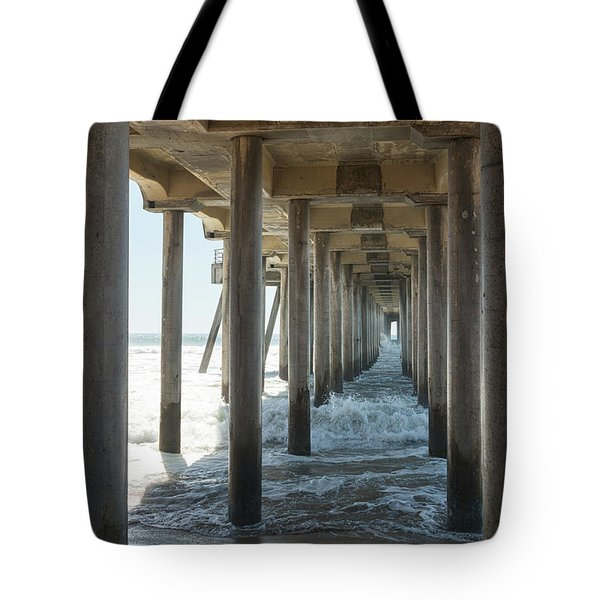 Tote Bag featuring the photograph Huntington Beach Pier From Below by Ana V Ramirez