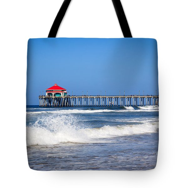 Huntington Beach Pier Photo Tote Bag by Paul Velgos