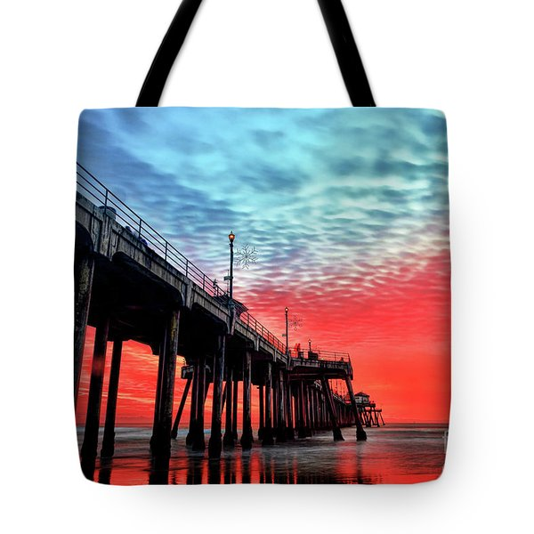 Huntington Beach Pier Sunset Tote Bag