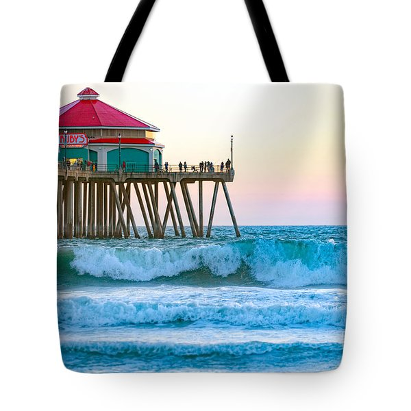 Tote Bag featuring the photograph Huntington Pier by Anthony Baatz