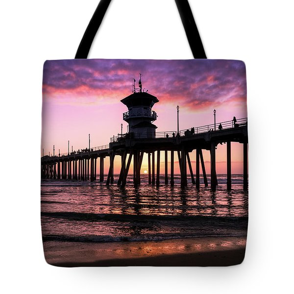 Tote Bag featuring the photograph Huntington Pier At Sunset 2 by T A Davies