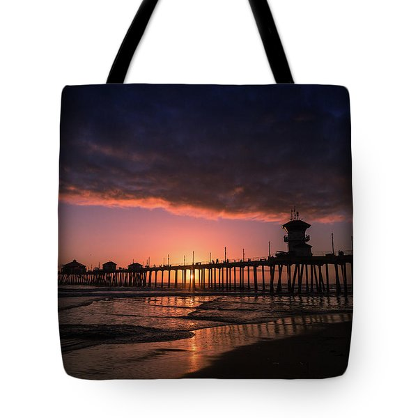 Huntington Pier At Sunset Tote Bag
