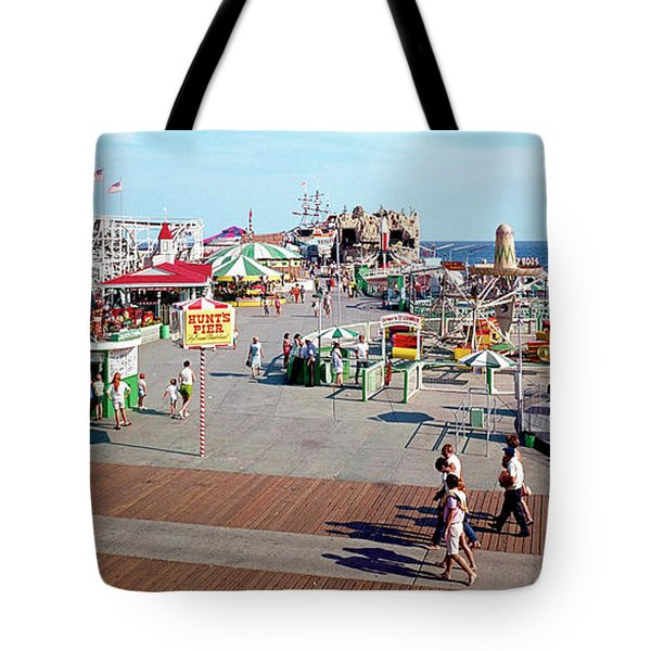 Hunts Pier In The 1960's, Wildwood Nj Sixties Panorama Photograph. Copyright Aladdin Color Inc. Tote Bag