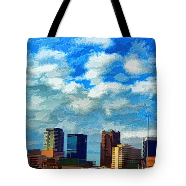 Huntsville Alabama Skyline Abstract Art Tote Bag by Lesa Fine