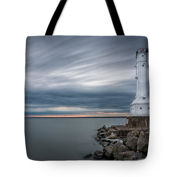 Huron Harbor Lighthouse Tote Bag by James Dean