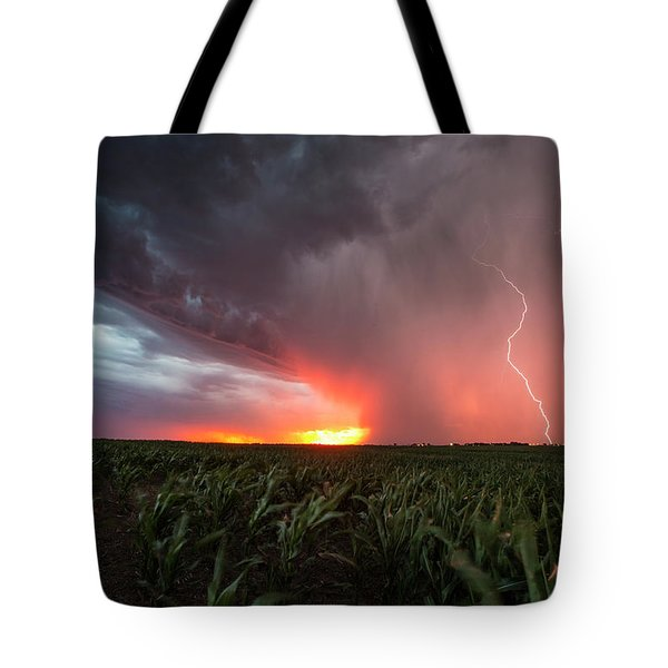 Tote Bag featuring the photograph Huron Lightning  by Aaron J Groen